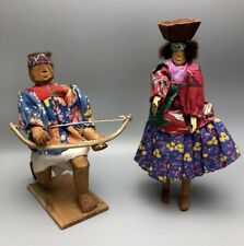 Rare Primitive Hand Carved Wooden Tarahumara Indian Dolls Man & Woman