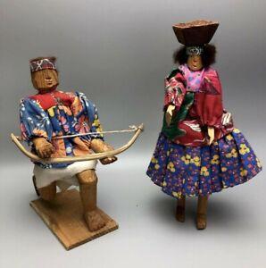 Rare Primitive Hand Carved Wooden Tarahumara Indian Dolls Man & Woman
