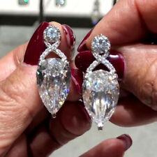 Elegant 925 Silver Drop Earrings Pear Cut Cubic Zirconia Women Engagement Gifts