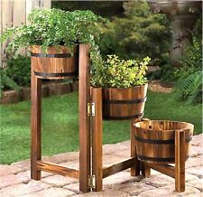 Country Charm ** APPLE BARREL PLANTER LADDER TRIO** Wood/Metal ** NIB