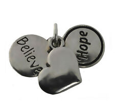 Sterling Silver 925 Charm believe hope Love Sickness depression Cancer Courage