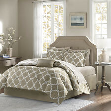 Beautiful Modern Taupe Grey Tan White Beige Comforter Bed In Bag Set & Sheets