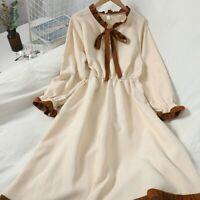 Lady Dresses Bowtie Flare Long Sleeve High Waist Sweet Midi Casual Retro Vintage