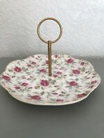 LEFTON CHINA HAND PAINTED SHABBY CHIC PINK ROSE PATTERN CANDY DISH WITH HANDLE