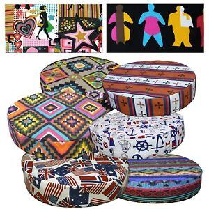 Round Box Shape Cover*Cafe Cotton Canvas Chair Seat Pad Cushion Case *AL4