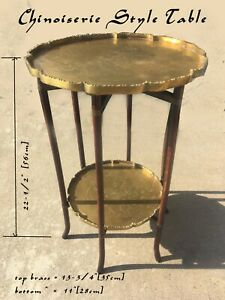 Antique Chinese Two Tier Folding Wood and Brass Tray Top Side Table