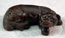 Boxwood Carving Okimono of a Reclining dog or Hikyū Nice Figurine