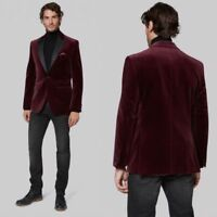 Burgundy Velvet Men's Suits Jacket Blazer Tuxedo Suit Formal Wedding Dinner Prom