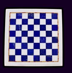 "12"" Chess Table Top pietra dura Lapis Lazuli Inlay Art"