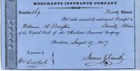 Civil War Rhode Island Governor James Y. Smith Textile Tycoon Signed 1857 Stock