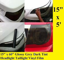 "15"" x 60"" Glossy Grey Dark Tint Headlight Taillight Vinyl Film Sheet Any Car"