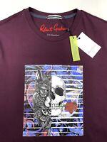 Robert Graham Skull Wolf Rose Print Graphic T Shirt Crew Neck Burgundy Sizes M L