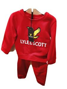 Lyle & Scott Eagle 24M Jogger Set Baby jumper long Sleeve trousers  Red