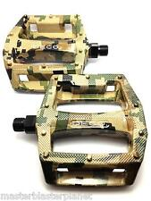 DECO BMX BIKE BICYCLE PLASTIC PEDALS 9/16 CHROMOLY SPINDLES ARMY CAMO NEW
