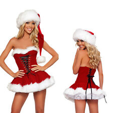 Christmas Costume Ladies Sexy Miss Santa Xmas Fancy Dress Outfit & Hat Sz M-XXL