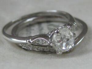 ANTIQUE 950 PLATINUM OLD CUT DIAMOND SOLITAIRE RING BRIDAL SET SIZE L 0.75 CARAT