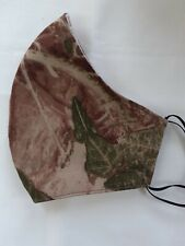 Handmade ivy leaf, real tree, camo fabric face mask. Reusable. Washable. Womans.