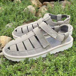 NEW UGG Dune Fisherman Men's Suede Sandals Dove Gray Size US 8/EU 41