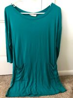 Emerald Women's M Top Button Back w/Pockets Turquoise Shirt Stretchy 3/4 Sleeves