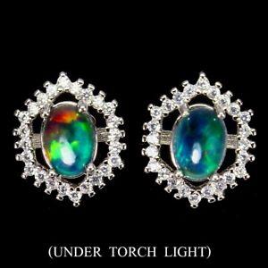 Oval Black Opal Rainbow 7x5mm Cz White Gold Plate 925 Sterling Silver Earrings