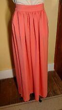 NWT *Love Mango Basic* Barcelona XS Coral Peach Semi Sheer Maxi Skirt w/ Pockets