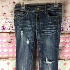 Almost Famous Sz3 Jeans Jr Distressed Whiskering