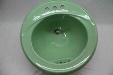 "(BS-91) NOS Vintage CASE Jade Pastel Green Retro Bathroom Sink Round 19"""