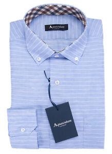 NWT AQUASCUTUM London DRESS SHIRT blue white stripe luxury button-down 39 15 1/2
