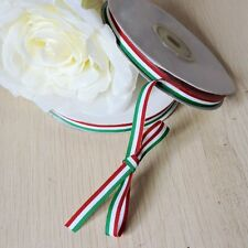 25yard 10mm Italy Flag Ribbon Red White Green for Hair Clip Christmas Butterfly