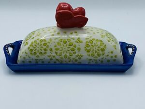 Pier 1 Hand Painted Stoneware Butter Dish & Lid Red Butterfly with Mandela Chip