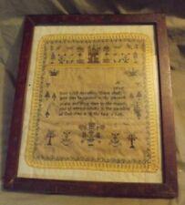 New listing Antique Textile ça 1800 Embroidered Sampler Folk Art Unfinished