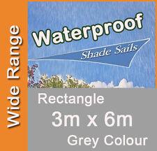 Waterproof Shade Sail Grey Colour Rectangle 3x6m, 3m x 6m, 3 by 6m, 3 x 6m 3mx6m