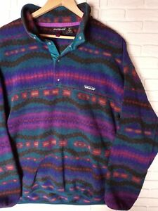 Vintage Patagonia Snap T XL Aztec Navajo Southwest Multi Color Made In USA
