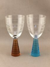 Pair of Modern Etched Crystal Wine Glasses Goblets with Colorful Conical Stems