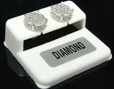 Ladies Men's New White Gold Finish Genuine .20ct Real Diamond Round Stud Earring