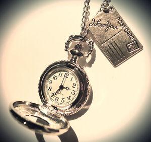 Alice in Wonderland Pocket Watch-I Love You Postcard- Silver-Clock Necklace-Gift