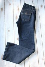 "Banana Republic Jeans Women Sz 0 Short Dark Denim Blue Flap Pocket 30"" inseam"