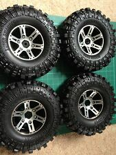 "Four Alloy Beadlock Wheels & Rocks Super Swamper Tyres. 1.9"" 110mm Rock Crawler"
