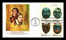 US COVER INDIAN ART MASKS FDC PLATE BLOCK BELLA BELLA FLEETWOOD CACHET