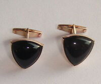 Cufflinks Solid Silver 875 star 1970s Ural Gemstone Black Onyx Russian Vintage