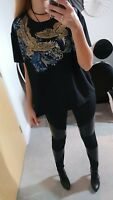 ZARA BNWOT NEW TOP T-SHIRT BLACK RUBBER PRINT TEXTURED SIZE S SMALL 6 8 10