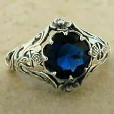 """SCOTTISH THISTLE"" NOUVEAU 925 STERLING SILVER SIM SAPPHIRE RING SIZE 7,   #1140"