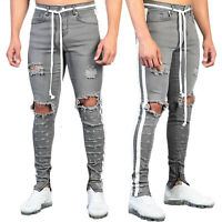 Mens Skinny Slim Jeans Stretch Ripped Denim Distressed Destroyed Pants Trousers