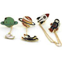 1x Creative Rocket Planet Rabbit Brooch Collar Pins Corsage Enamel  Cute Badge