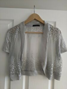 David Emanuel Sliver Grey Sequin Shrug Size 14 perfect for a ball/ cruise