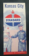 1958 Kansas City street  map Standard of Indiana  oil gas Missouri metro roads