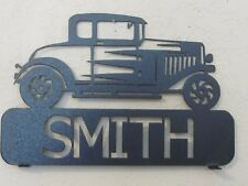 1932 FORD HOT ROD MAILBOX TOPPER (YOUR NAME) TEXTURED  BLACK POWDER COAT FINISH