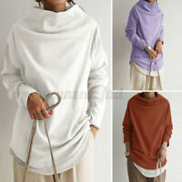 UK Womens Long Sleeve High Neck Sweater Shirts Loose Tops Pullover Jumper Blouse
