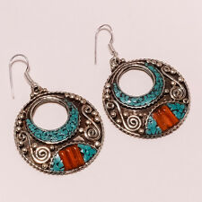 ANTIQUE,BEAUTIFUL HANDMADE NATURAL CORAL,TIBETAN TURQUOISE GEMSTONE EARRINGS 19g
