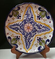 """Vintage Talavera Hand- Painted Pottery Ceramic Faience Cabinet Plate Charger 10"""""""